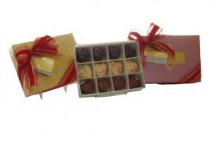 Chocolate Heart Truffles Gift Box, 12 Large Truffles Assortment White Milk Dark Chocolate